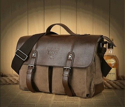 Vintage Men's Canvas Leather Messenger Shoulder Bag Briefcase Satchel coffee