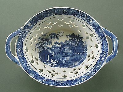 Large Blue & White Historical Staffordshire or Caughley Porcelain Serving Bowl