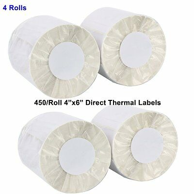 4 Rolls Direct Thermal Shipping Labels 450/Roll 4x6 - Zebra Eltron 2844 Zp450