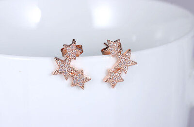 925 Sterling Silver Women Jewelry Triple Star Crystal Elegant Ear Stud Earrings