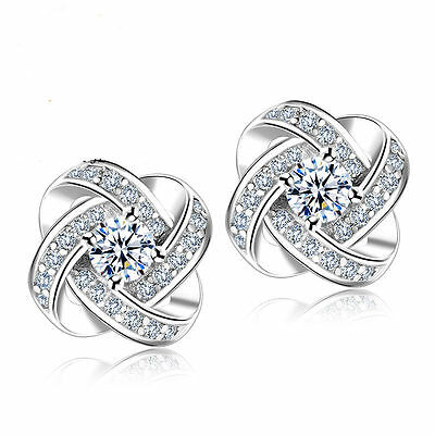 925 Sterling Silver Women Jewelry Love Forever Elegant Crystal Ear Stud Earrings