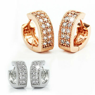 925 Sterling Silver Women Jewelry V Heart Lady Elegant Crystal Ear Stud Earrings