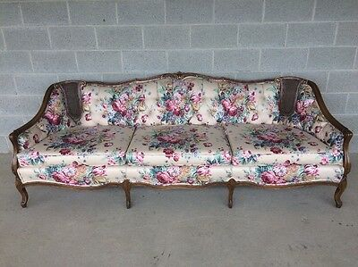 Louie Xv Style French Provincial Sofa/settee Cain Back Tufted Floral Upholstery