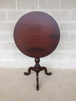 Vintage Solid Mahogany Tilt Top Table Birdcage/queen Anne Style/tea Table