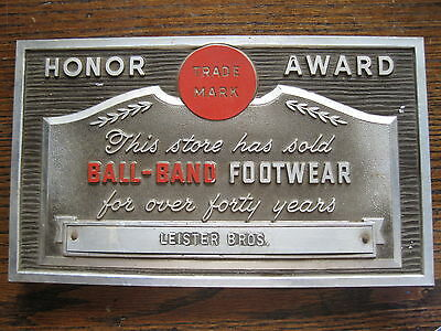 Vintage Ball Brand Footwear Aluminum Plaque Honor Award For Leister Bros.