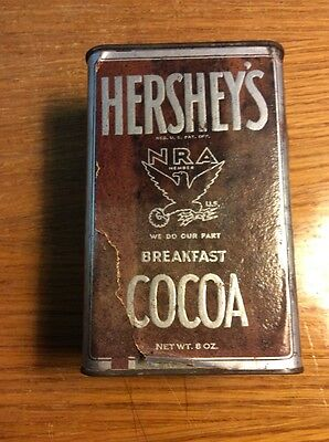 Vintage Hershey's Cocoa Hershey Chocolate Tin Container NRA Member Advertising