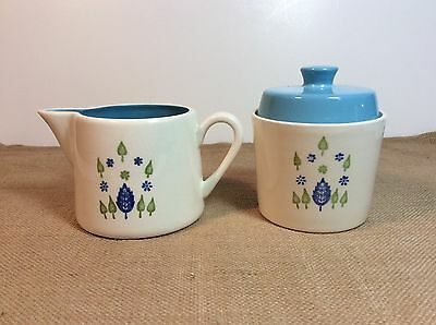 Vintage Mid-Century Marcrest Swiss Alpine Chalet Sugar and Creamer with Lid