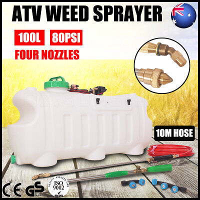 100L ATV Garden Weed Sprayer 12V Pump Driven Spot Spray Chemical Tank 4 Nozzles