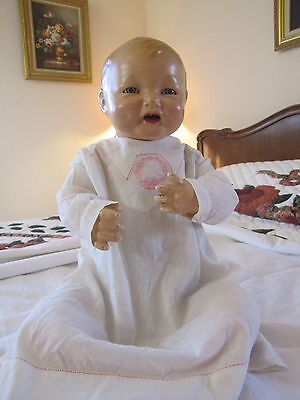 """Antique Composition Effanbee BUBBLES Baby Doll with Cloth Body ~ 22"""" Tall"""