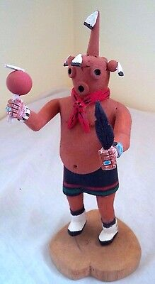 "Very Fine Hopi Cottonwood Carved ""Mud Head"" Dancing Kachina Doll Signed 9 1/2"""