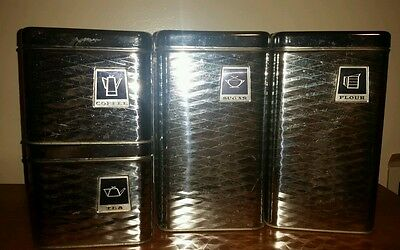 Vintage set of 4 canisters silver diamond cut. Tea, coffee, flour & sugar