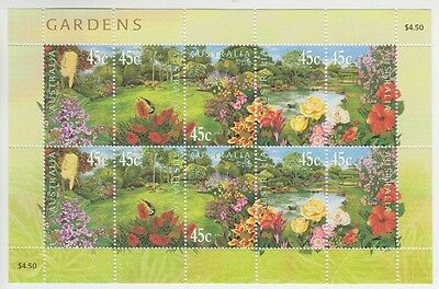 2000 Gardens Muh Miniature Sheet Of 10 Stamps (Jd0064)