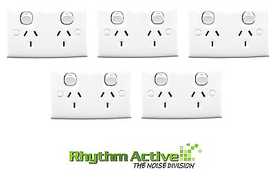 Clipsal 25S We 5-Pack Twin Switch Outlet Power Wall Socket Double 10A/240V