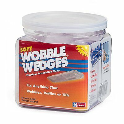 Wobble Wedge - Soft Clear - Plumbers Installation Shims - 30 Piece Jar