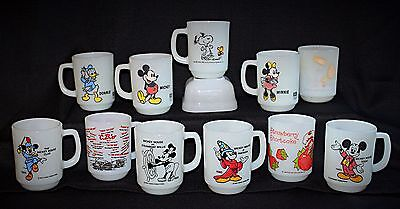 11 PC Vintage FIRE-KING Milk Glass Collector's Mugs • Snoopy, Mickey And More!
