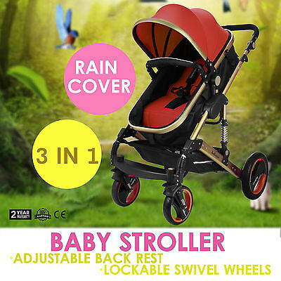 Baby Stroller 3In1 Foldable Pram Pushchair Telescopic Pole Lightweight NEWEST