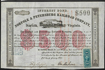 William Mahone signed Norfolk and Petersburg Railroad Co 1867
