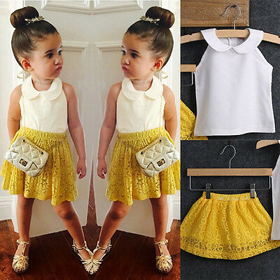 2PCS Toddler Kids Baby Girls T-shirt Vest Tops+Shorts Pants Outfits Clothes Set