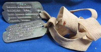 WWII 1941 Army Dog Tags With Texas NOK Address Set T41 With Cord