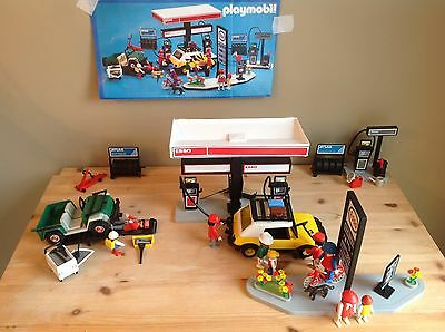 Vtg 1981 PLAYMOBIL ESSO SERVICE STATION / COMPLETE SET W/ MANUAL, EXTRA STICKERS