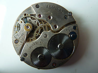VINTAGE 12S ADMIRAL 15J 3Pos.Adjusted Open Face Pocket watch Movement!!
