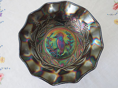 Black Amethyst Carnival Glass Masterbowl **kingfisher** Rd4184