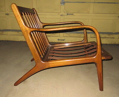 Mid Century Danish Modern Walnut Low Lounge Chair PEARSALL