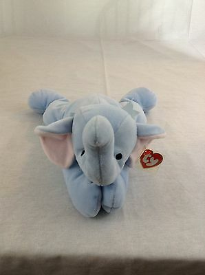 1996 Ty Beanie Baby Squirt Light Blue Elephant Plush Toy Pillow Pals