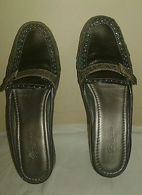 Brighton Womens Gray Croc Leather Flat Mule Loafer  - Size 8.5M