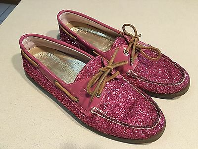 SPERRY Top-Sider Women's Pink Patent/Sparkle Leather Boat Shoes Size 10M