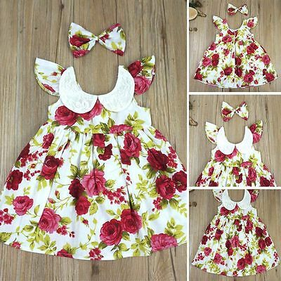 Infant Baby Girl Cotton Summer Floral Dress Princess Party Casual Beach Dress