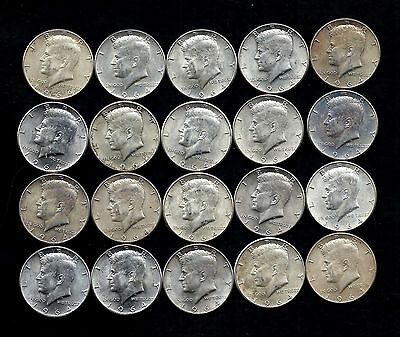 One Roll 1964 Kennedy Half Dollars 90% Silver (20 Coins)   Lot P57