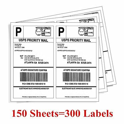 300 8.5 x 5.5 Premium Shipping Label Half Sheet Self Adhensive - eBay Paypal UPS