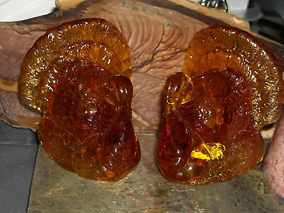 Crystal clear amber orange thanksgiving turkey candle stick holders glass