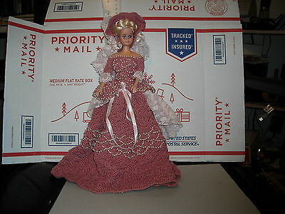 "vintage 12"" doll free w dress southern bell bustle hat ribbons pearls dusty rose"