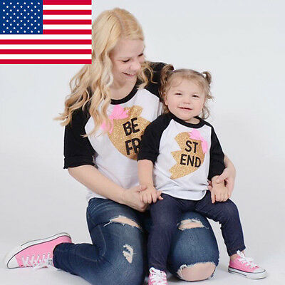 US Mom T-shirt Toddler Baby Kids Girls Matching Shirt Family Clothes Tops Blouse