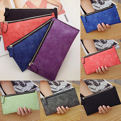 UK Large Capacity Purse Clutch Wallet Card Holder Case Coin PU Leather Women Men