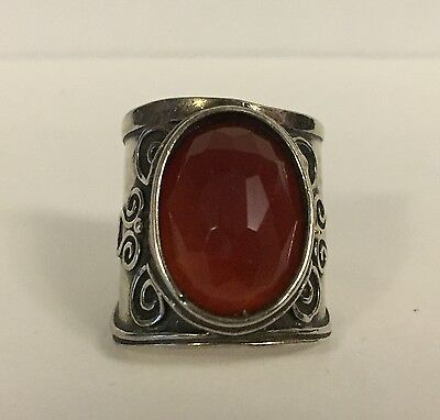 didae Israel Handcrafted Ring 925 Sterling Silver Faceted Carnelian Size 8