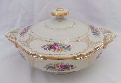 Heinrich H&C Tureen Serving Bowl With Lid Bavaria Germany-Floral & Gold Pattern