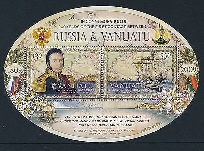 2009 Vanuatu 200 Years Of Contact With Russia Minisheet Fine Mint Mnh/muh