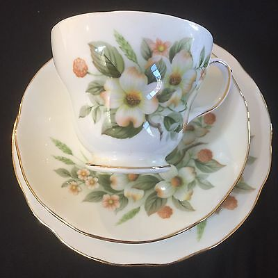 Vintage Duchess English Bone China Trio - Dogwood Rose Design In Ex. Cond