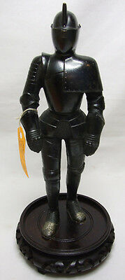 """Vintage 8 3/4"""" High Diecast Armored Knight Table Top Lighter"""