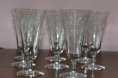 """Wine  Glasses - """"elegant Glass""""  -  8  Antique  Hand-Etched - Heisey (?) -Lovely"""