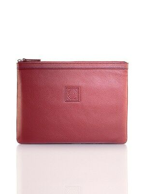 Shanghai Tang Pebble Media Burgundy Leather Pouch Large Brand New