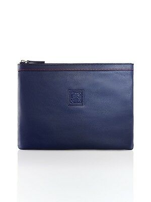 Shanghai Tang Pebble Media Navy Leather Pouch Large Brand New