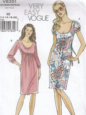 Vogue Ladies Dress Sewing Pattern 8351 Very Easy Misses Size 14 16 18 20