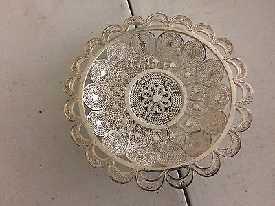 900 Silver Ornate Islamic Persian Ottoman Decorative Filigree Dish #1