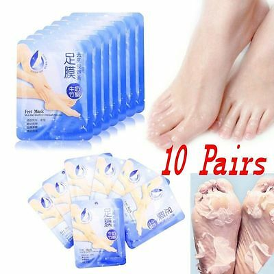 10Pairs Useful Exfoliating Peel Foot Mask Soft Feet Remove Callus Hard Dead Skin