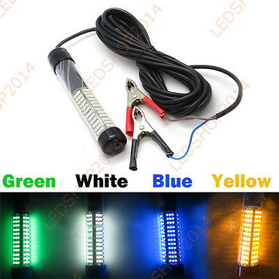 12V Green Blue White Yellow Underwater LED Fishing Light Boat Attract Fish Squid