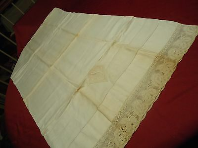"Antique Vtg Lot 2 Cream Linen Pillow Cases S Monogram 21""x38"" Lace Edge Pullwork"